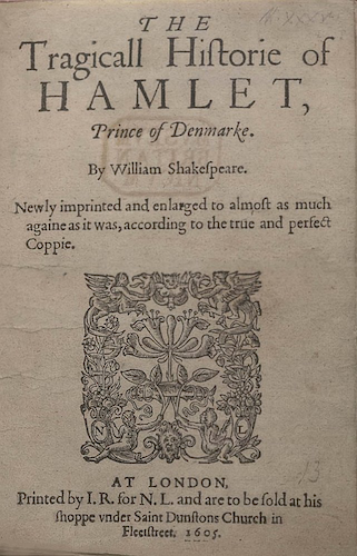 Title Page of the 1605 Printing (Quarto 2) of Hamlet RESIZED